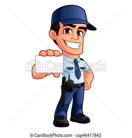 450x470 Nice Security Guard, He's Dressed In Uniform Eps Vector