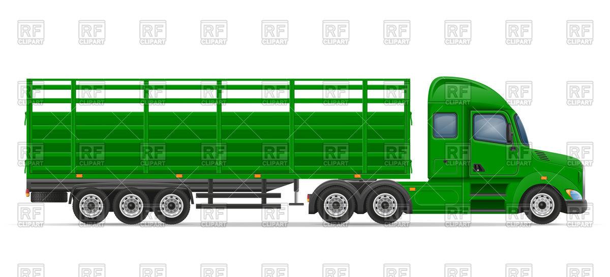 1200x546 Green Truck Semi Trailer Royalty Free Vector Clip Art Image
