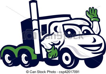 450x316 Semi Truck Rig Waving Cartoon. Illustration Of A Semi Truck Eps