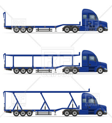 362x400 Truck Semi Trailers For Transportation Royalty Free Vector Clip