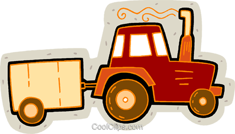 480x274 Tractor With Trailer Royalty Free Vector Clip Art Illustration