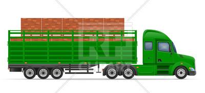 400x181 Truck Semi Trailer Transportation Of Construction Materials
