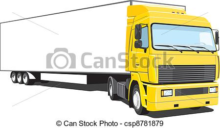 450x261 Vector Isolated Yellow Semi Truck On White Background, Eps