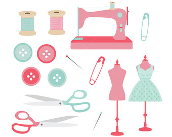 340x270 Sewing Clipart, Cute Digital Graphics Png, Vintage And Modern Sew