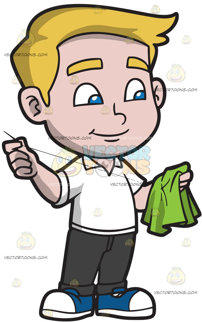 645x1024 A Boy Sewing A Piece Of Cloth Cartoon Clipart Vector Toons