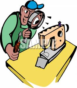 263x300 A Repairman Looking Through A Magnifying Glass At A Sewing Machine