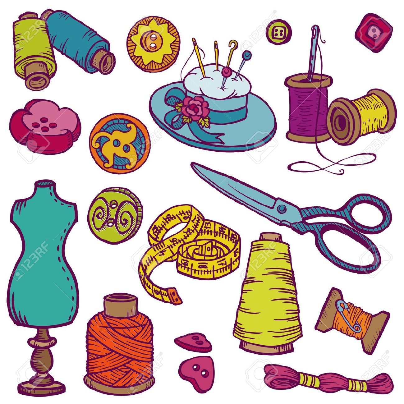 1300x1300 Free Clipart Knitting Needles And Sewing Items