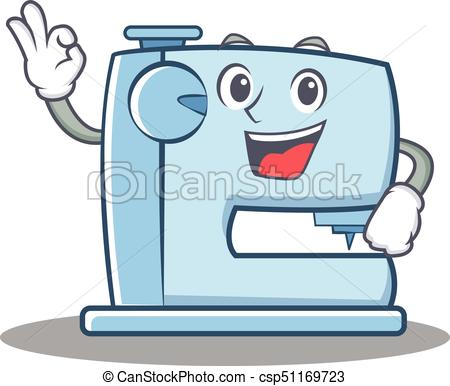 450x386 Okay Sewing Machine Emoticon Character Vector Illustration Vector