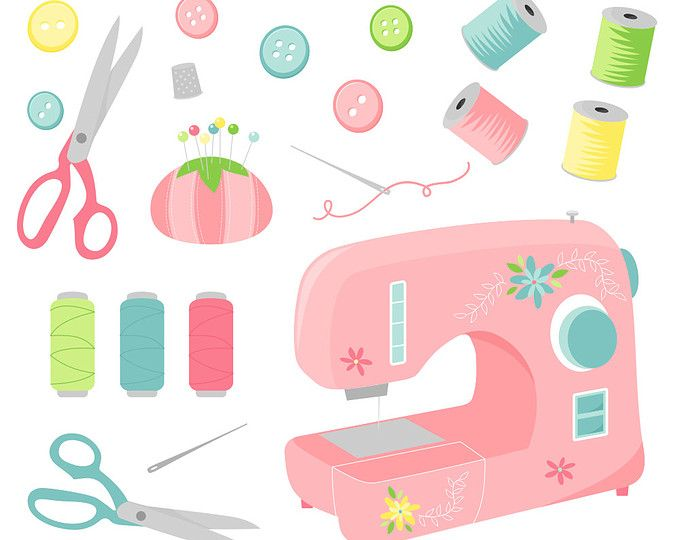 680x540 Sewing Clipart, Sewing Machine Craft Digital Clipart