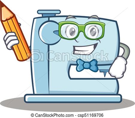 450x393 Student With Pencil Sewing Machine Emoticon Character Vector