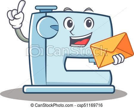 450x362 With Envelope Sewing Machine Emoticon Character Vector Vector