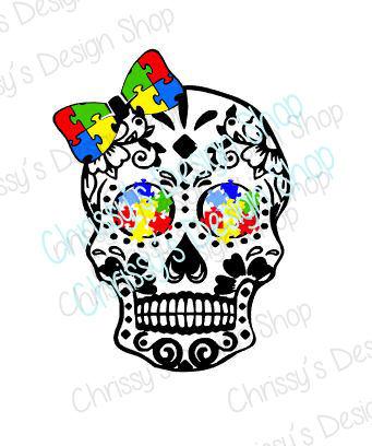 341x408 Autism Awareness Skull Svg Autistic Awareness Svg Shaggy Skull