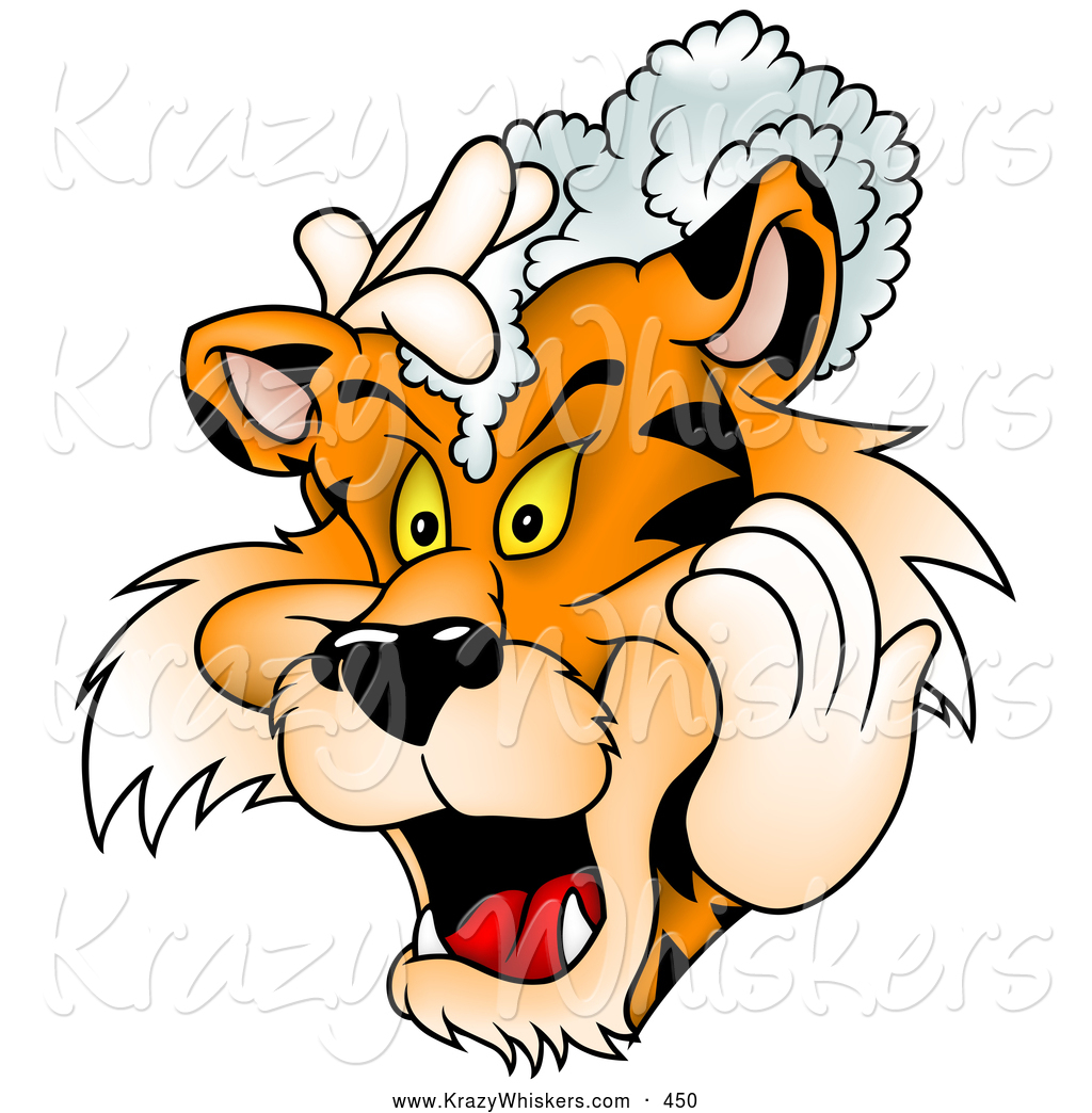 1024x1044 Critter Clipart Of A Friendly Tiger Washing His Mane With Shampoo