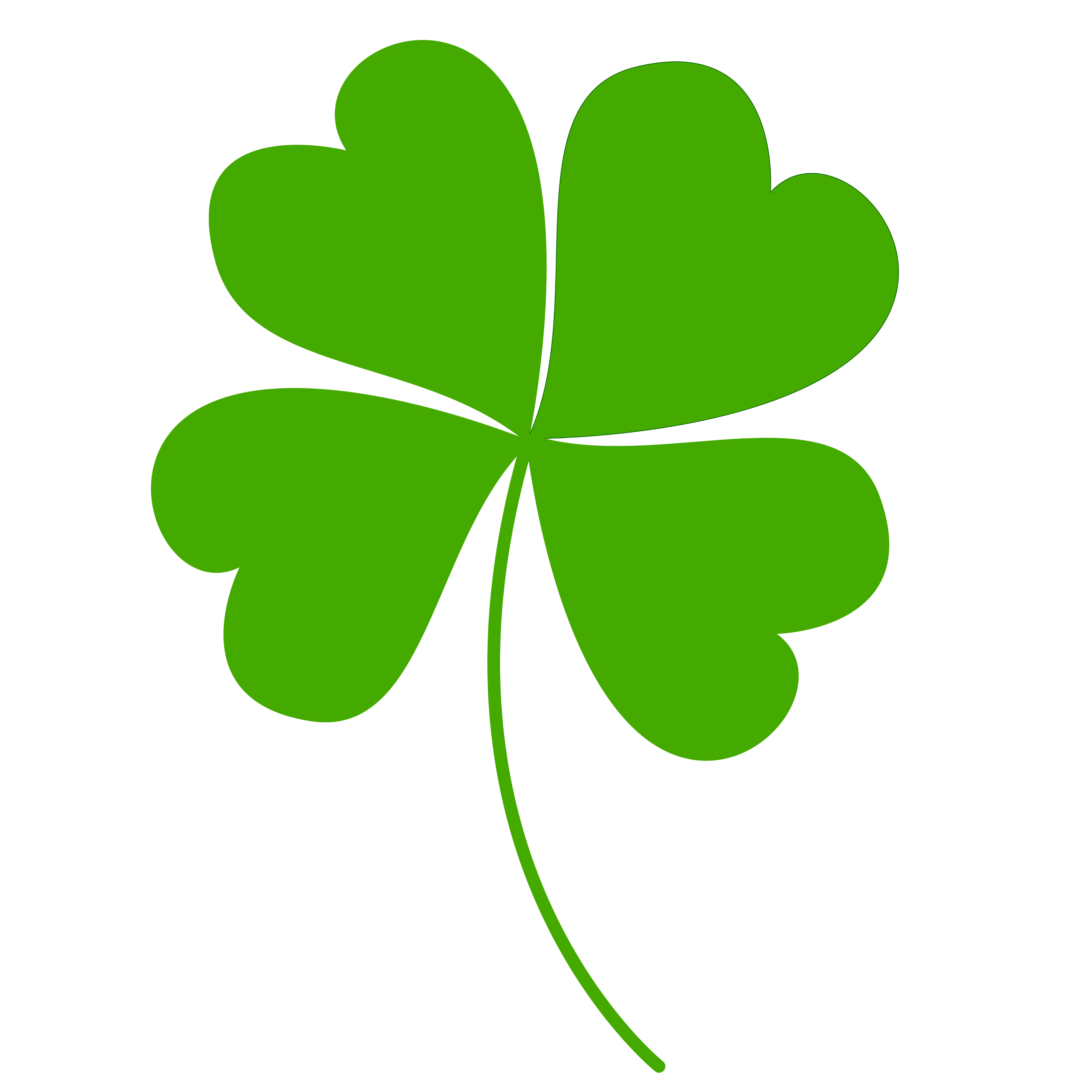4000x4000 Free Clipart Of A Green St Paddys Day Shamrock Four Leaf Clover