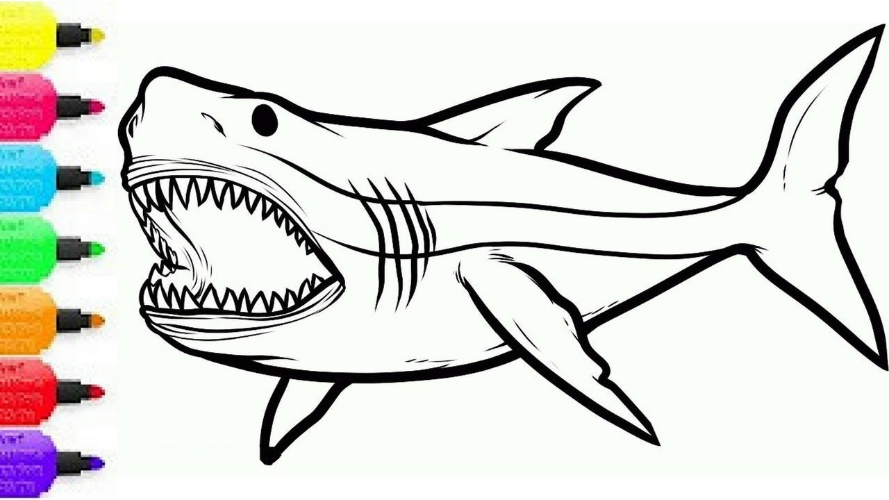 1280x720 Shark Coloring Pages Best Of How To Draw Shark Coloring Pages
