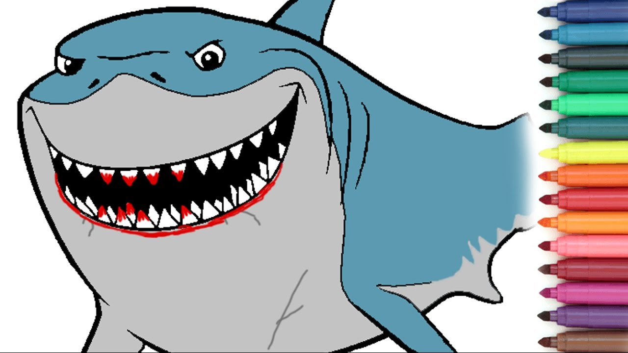 1280x720 Stunning Finding Nemo Coloring Pages Bruce Ideas