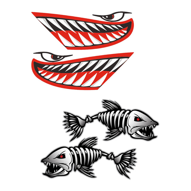 640x640 New 4 Pcs Kayak Canoe Boat Shark Teeth Mouth With Fish Skeleton