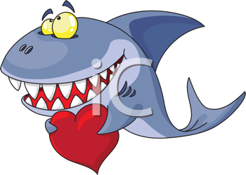 350x250 Royalty Free Clipart Image Of A Shark With A Heart Coisas Para