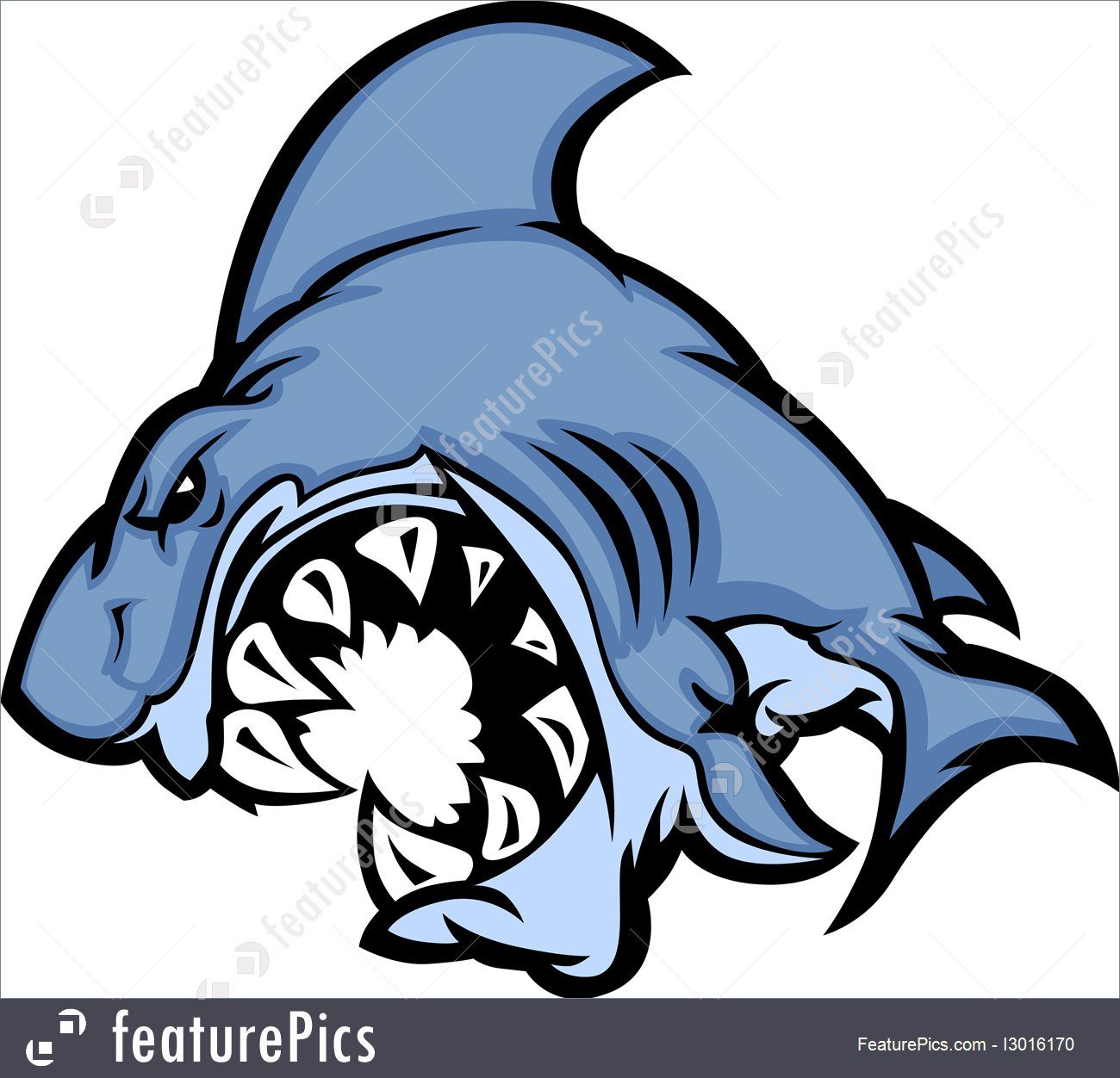1300x1252 Shark Mascot Cartoon Vector Image