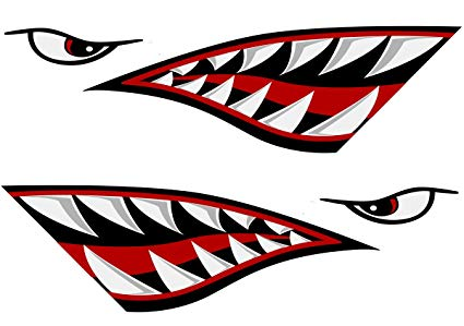 425x299 Alemon Shark Teeth Mouth Reflective Decals Sticker