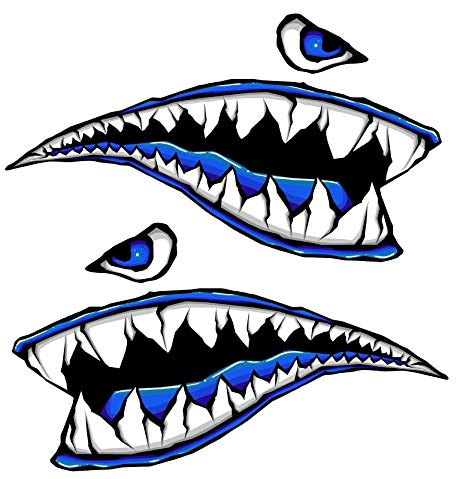 466x479 Side Gas Tank Fighter Shark Teeth Blue 3d Gel