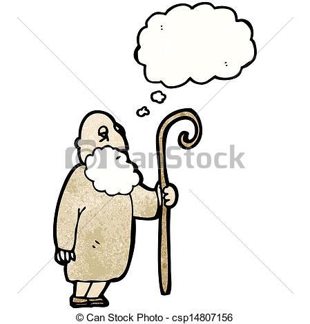 449x470 Cartoon Old Shepherd Man Clipart Vector