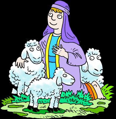 392x400 Image Kneeling Shepherd In Purple Robe With His Sheep Shepherd