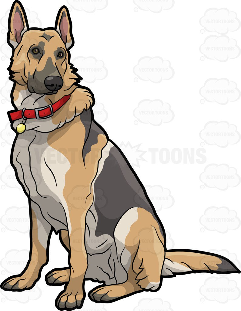 795x1024 A German Shepherd Pet Dog Cartoon Clipart Vector Toons