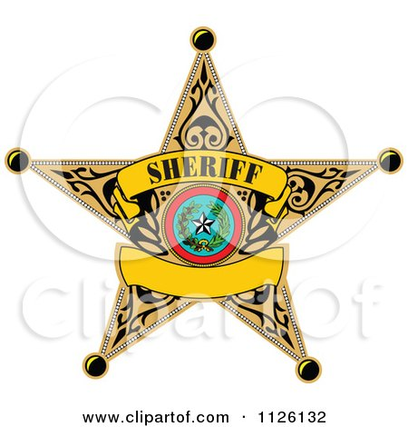 450x470 Clipart Of A Sheriff Badge On Black