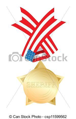 299x470 Golden Sheriff Star Medal With Usa Ribbon Stock Illustration