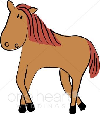 342x388 Casual Cartoon Horse Country Wedding Clipart