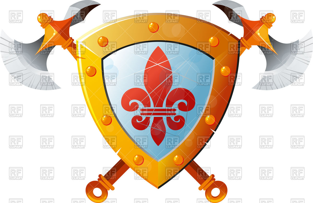 1200x777 Beautiful Knight Shield With Two Crossed Axes Free Download Vector