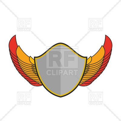 400x400 Shield And Wings Sign, Heraldic Emblem Royalty Free Vector Clip