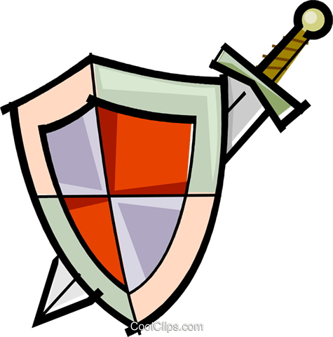 475x480 Sword And Shield Royalty Free Vector Clip Art Illustration