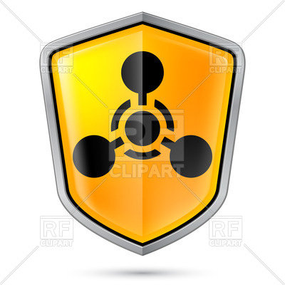 400x400 Chemical Weapon Symbol On Yellow Shield Icon Royalty Free Vector