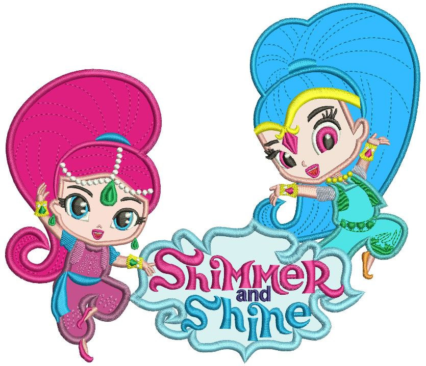 835x719 Shimmer And Shine Applique Design 2 Sizes Instant Download