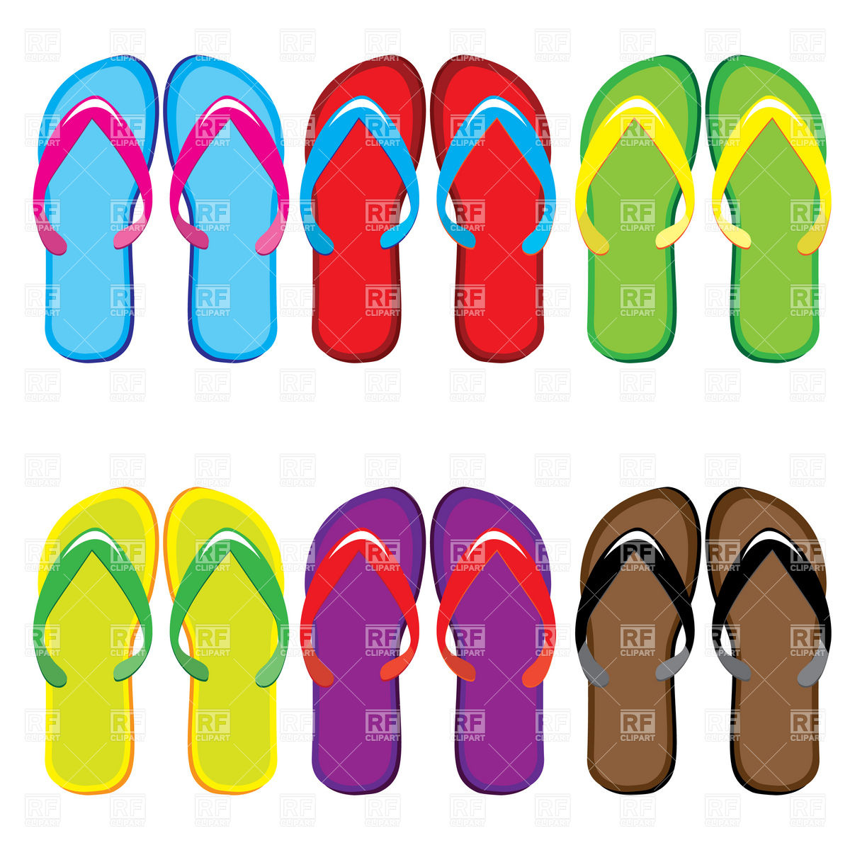 1200x1200 Colorful Thongs Shoe Blank Templates Royalty Free Vector Clip Art