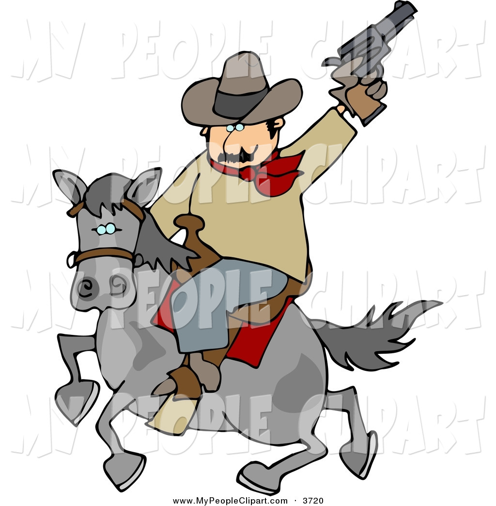 1024x1044 Clip Art Of A Cowboy Man Riding Horse While Pointing And Shooting