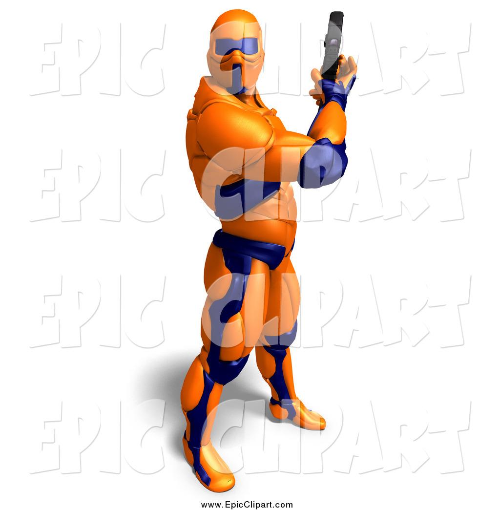 1024x1044 Vector Clip Art Of A 3d Super Hero Shooting In An Orange Nanosuit