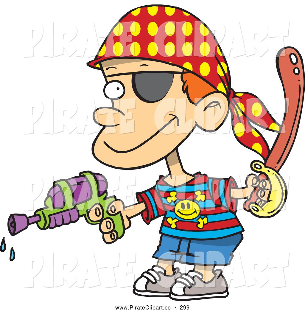 1024x1044 Vector Clip Art Of A Mischievous Pirate Boy Shooting Water Gun By