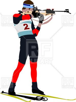 298x400 Biathlon Athlete Shooting Royalty Free Vector Clip Art Image