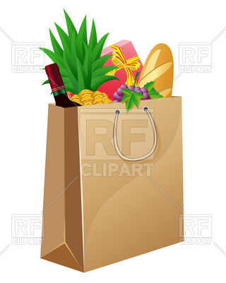 320x400 Paper Shopping Bag With Foods Royalty Free Vector Clip Art Image