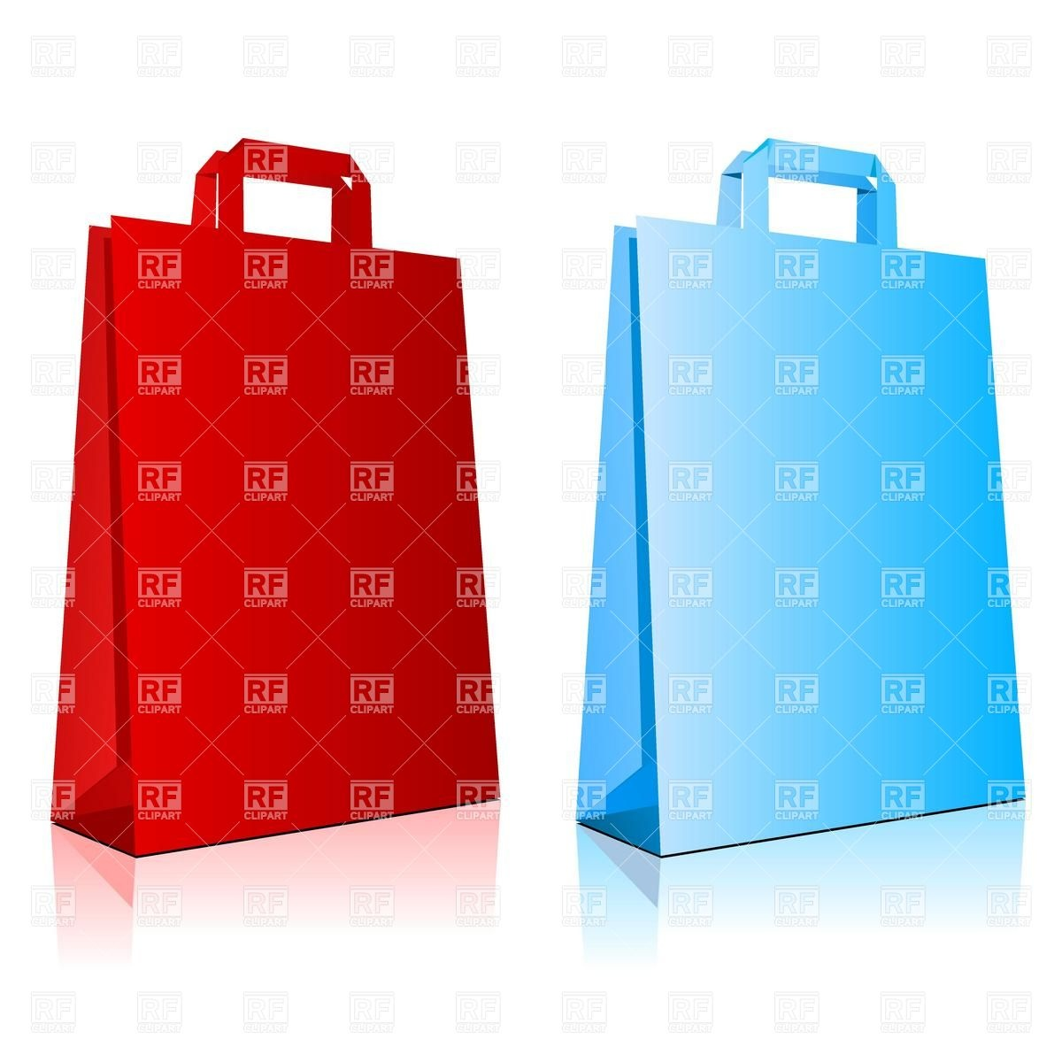 1200x1200 Red And Blue Paper Shopping Bag Blank Templates Royalty Free