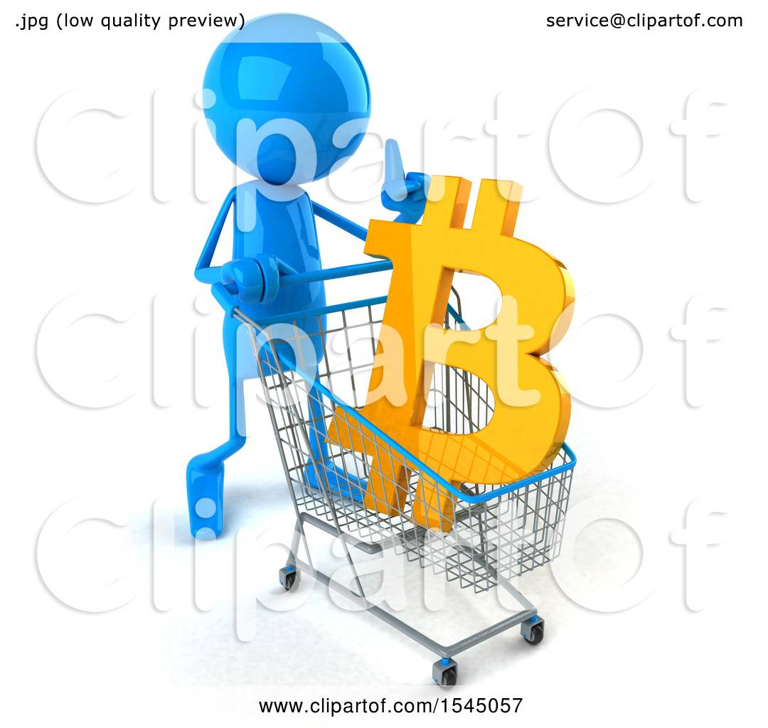1080x1024 Clipart Of A 3d Blue Man With A Shopping Cart With A Bitcoin