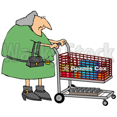 400x400 Gray Haired Woman Pushing A Shopping Cart In A Grocery Store