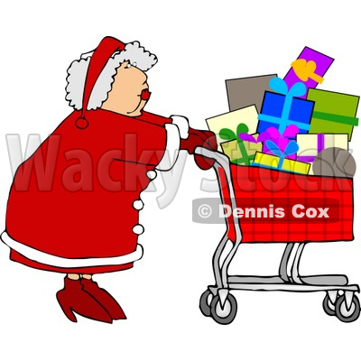 400x400 Mrs. Clause Pushing A Shopping Cart Full Of Christmas Presents