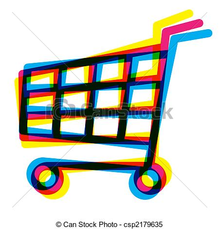 450x470 Out Of Register Shopping Cart, Cymk Style Stock Illustrations