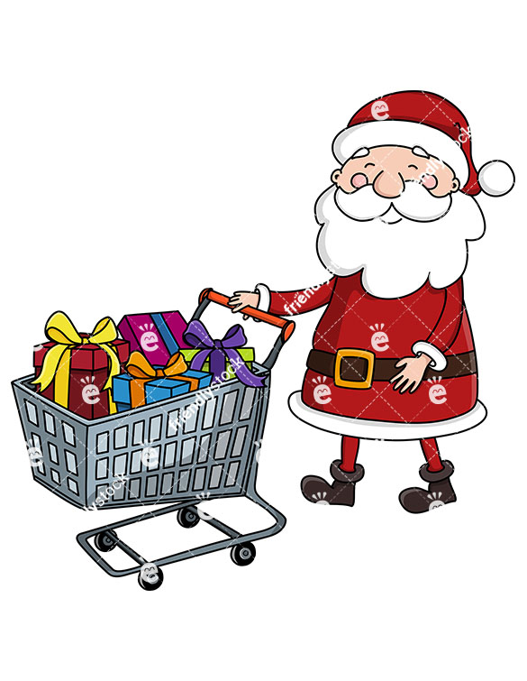 585x755 Santa Claus Pushing A Shopping Cart Full Of Presents Clipart
