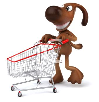339x350 3d Brown Dog Pushing A Shopping Cart