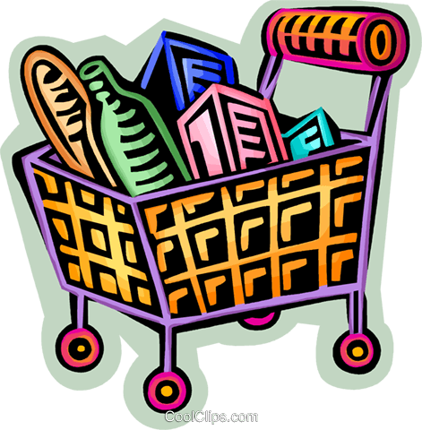 471x480 Shopping Cart Filled With Food Royalty Free Vector Clip Art